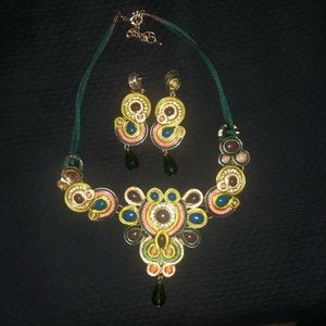 Greens and good statement necklace and earrings